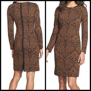 Vince Camuto sz 8 damask sheath dress black brown